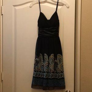 Black dress with blue/sea foam green/ivory design